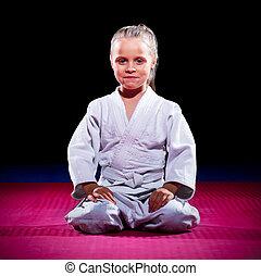 poco, niña, Aikido, luchador,