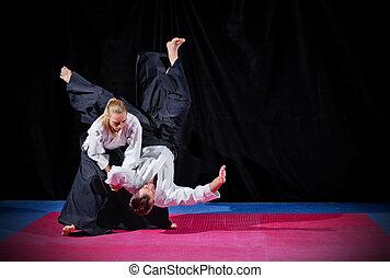 pelea, entre, dos, Aikido, luchadores,