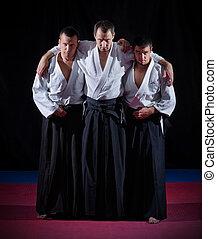 tres, Aikido, luchadores,