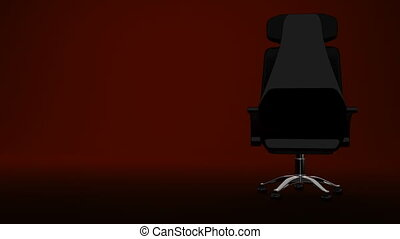 Spotlighted Business Chair On Red Text Space 3D render...