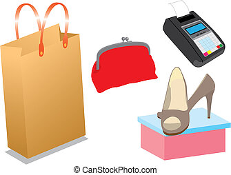 Shopping items - Set of vector shopping items