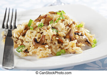 Risotto with mushrooms closeup