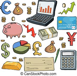Financial set on white background vector illustration