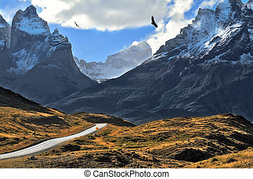 Grandiose landscape in the Chilean Andes The road between...