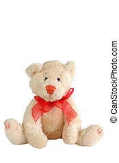teddy bear - stuffed toy teddy bear with red bow tie...