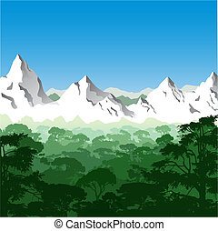 Mountain Landscape - Landscape with Mountains and Trees