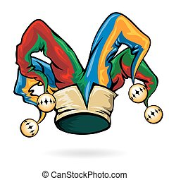 Colored vector jester hat - Colored jester hat with bells...
