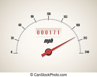 Speedometer on white background - Speedometer with odometer...
