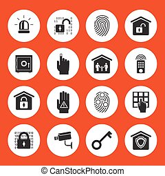 Home security icons Black silhouettes in white circles on an...