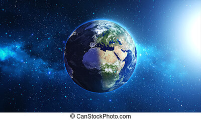 Earth with sun in space and nebula. - Planet Earth with sun...