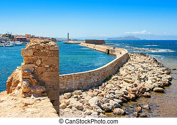 Chania harbour Crete, Greece - View of sea and Chania harbor...