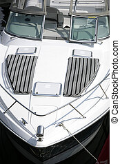 Motorboat - detail of a white motorboat