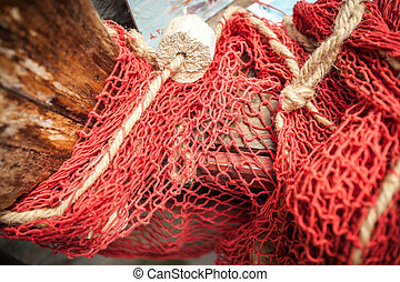 natural fiber net on old wooden boat - Closeup shot of...