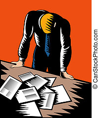 Male office worker hunched over paperwork - illustration of...