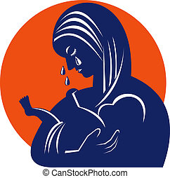 Mother in tears with baby child - illustration showing...