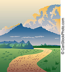 Country road with mountains and clouds - illustration of a...