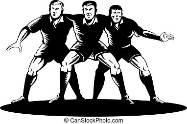 Rugby front row scrum - illustration of three rugby players...