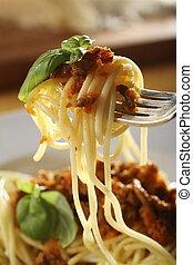 Spaghetti Bolognese - plate with Spaghetti Bolognese