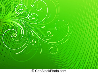 Floral Decorative background - Vector illustration of Green...