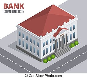 Vector bank building. Isometric icon of a building with...