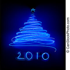 Christmas tree - illustration of Abstract blue Christmas...