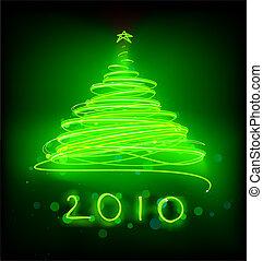 Christmas tree - illustration of Abstract green Christmas...