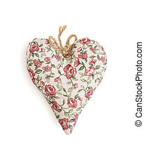 Decorative valentine heart of fabric with flowers pattern on...