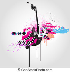 urban background - illustration of style Decorative urban...