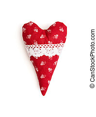 Red and white valentine heart with decorative pattern - Red...