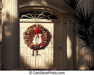 christmas wreath welcome - coming home for the holidays