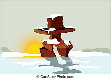 Inukshuk at sunset - Vector illustration of Inuit Inukshuk...
