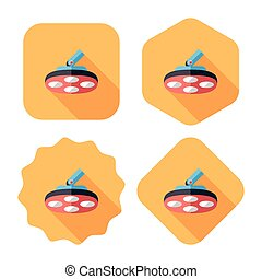 operating theatre light flat icon with long shadow