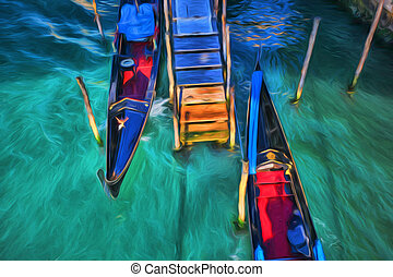 Venice with gondolas, Italy, Oil painting - Venice with...
