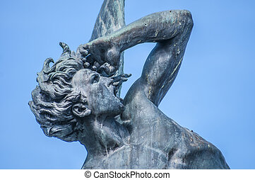 The Fountain of the Fallen Angel in Madrid, Spain. - The...