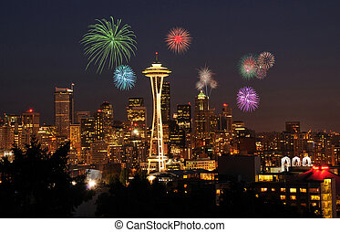Seattle Downtown Skyline - 4th of July celebrations and...