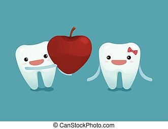 Tooth boy provide a heart apple for tooth girl on...