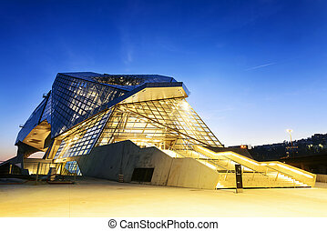 Confluences museum in Lyon city buy sunset,