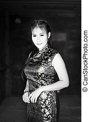 Chinese woman dress traditional cheongsam