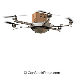 drone delivery - 3d image of futuristic delivery drone