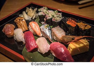 japonés, Sushi, Conjunto,