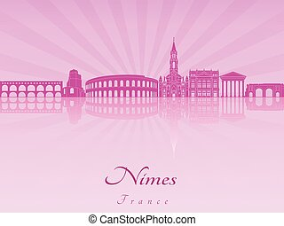 Nimes skyline in purple radiant orchid in editable vector...