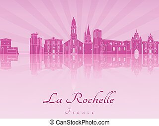 La Rochelle skyline in purple radiant orchid in editable...