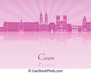 Caen skyline in purple radiant orchid in editable vector...