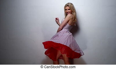 Pretty Blond Woman in dress - Smiling Pretty Blond Woman...