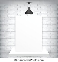 Blank paper on a pedestal and a brick background with lamp,...