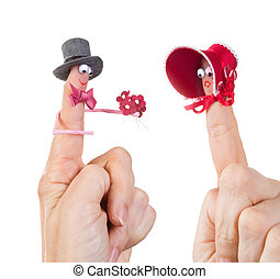 Valentine finger puppets - Caricature made of a finger...