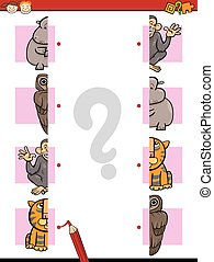 education halves game cartoon - Cartoon Illustration of...