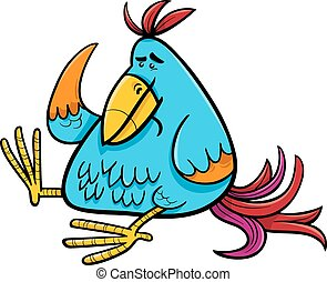 exotic fantasy bird cartoon illustration - Cartoon...