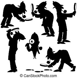 Detective Silhouettes - Set of 6 silhouettes of cartoon...