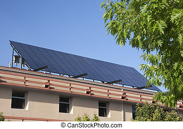 large solar panel on building roof - solar panel on building...